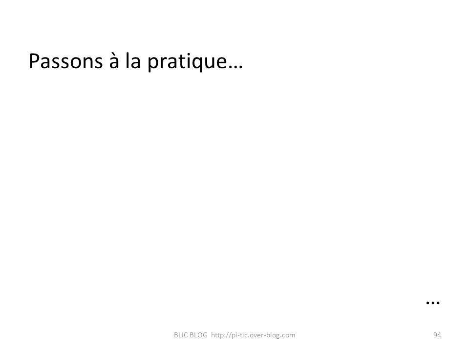 Passons à la pratique… … BLIC BLOG http://pi-tic.over-blog.com94