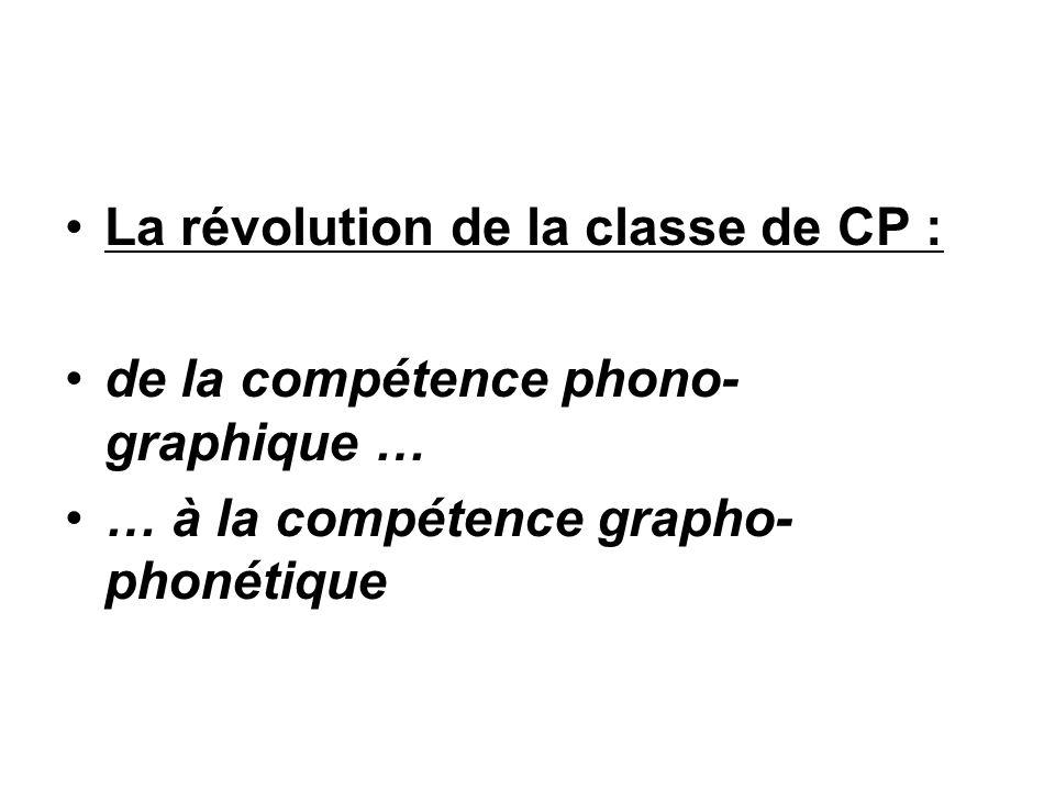 La révolution de la classe de CP : de la compétence phono- graphique … … à la compétence grapho- phonétique