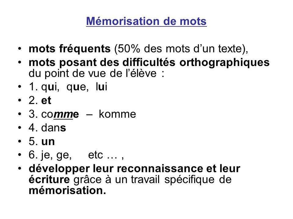 Mémorisation de mots mots fréquents (50% des mots dun texte), mots posant des difficultés orthographiques du point de vue de lélève : 1. qui, que, lui