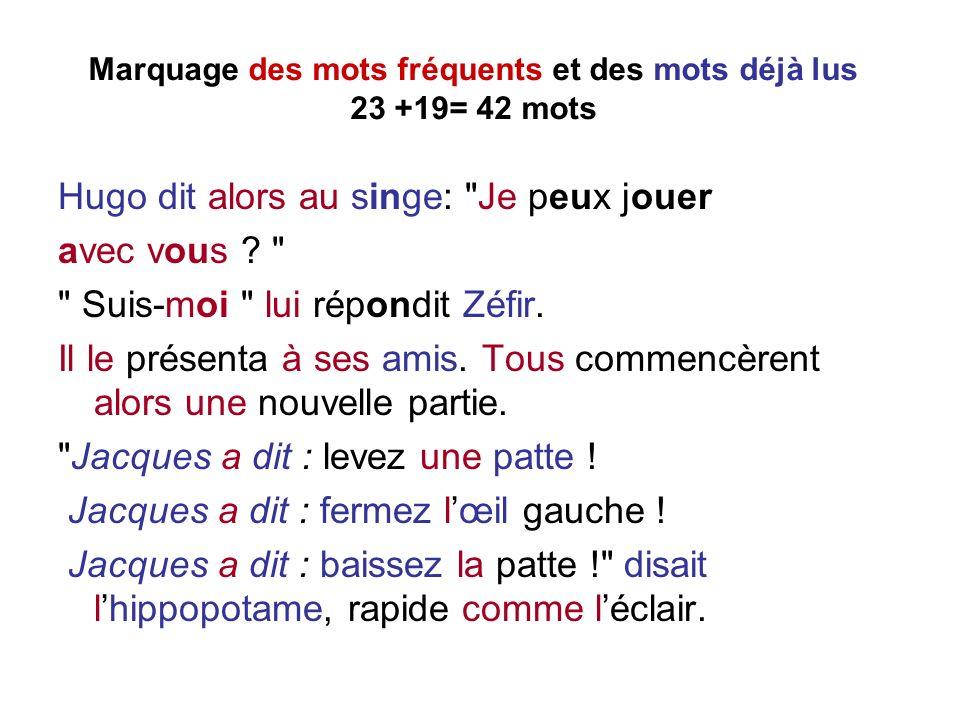 Marquage des mots fréquents et des mots déjà lus 23 +19= 42 mots Hugo dit alors au singe: