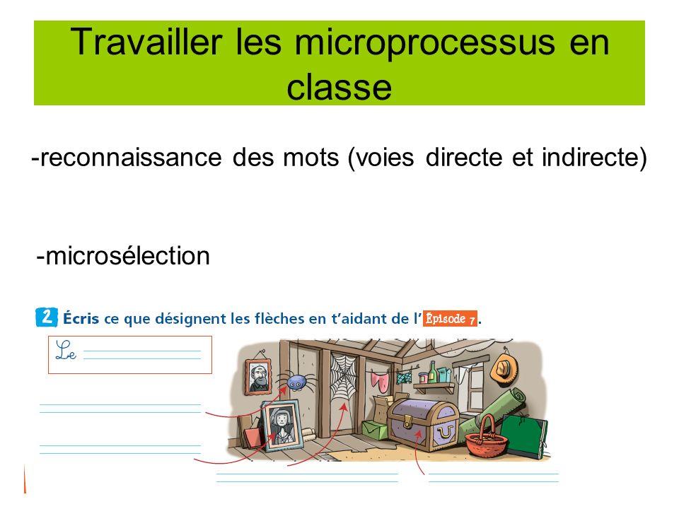 Travailler les microprocessus en classe -reconnaissance des mots (voies directe et indirecte) -microsélection