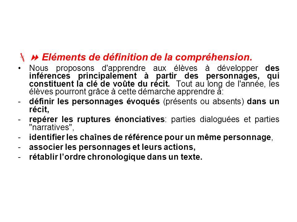 Eléments de définition de la compréhension. Nous proposons d'apprendre aux élèves à développer des inférences principalement à partir des personnages,