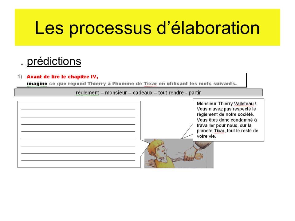 Les processus délaboration. prédictions