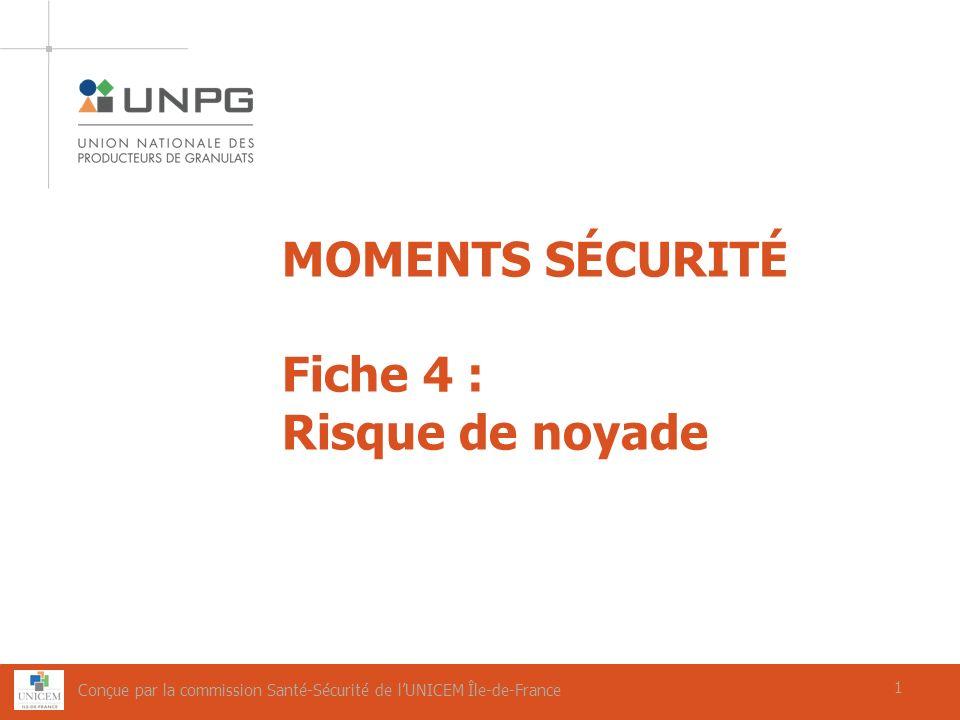 1 MOMENTS SÉCURITÉ Fiche 4 : Risque de noyade 1 Conçue par la commission Santé-Sécurité de lUNICEM Île-de-France