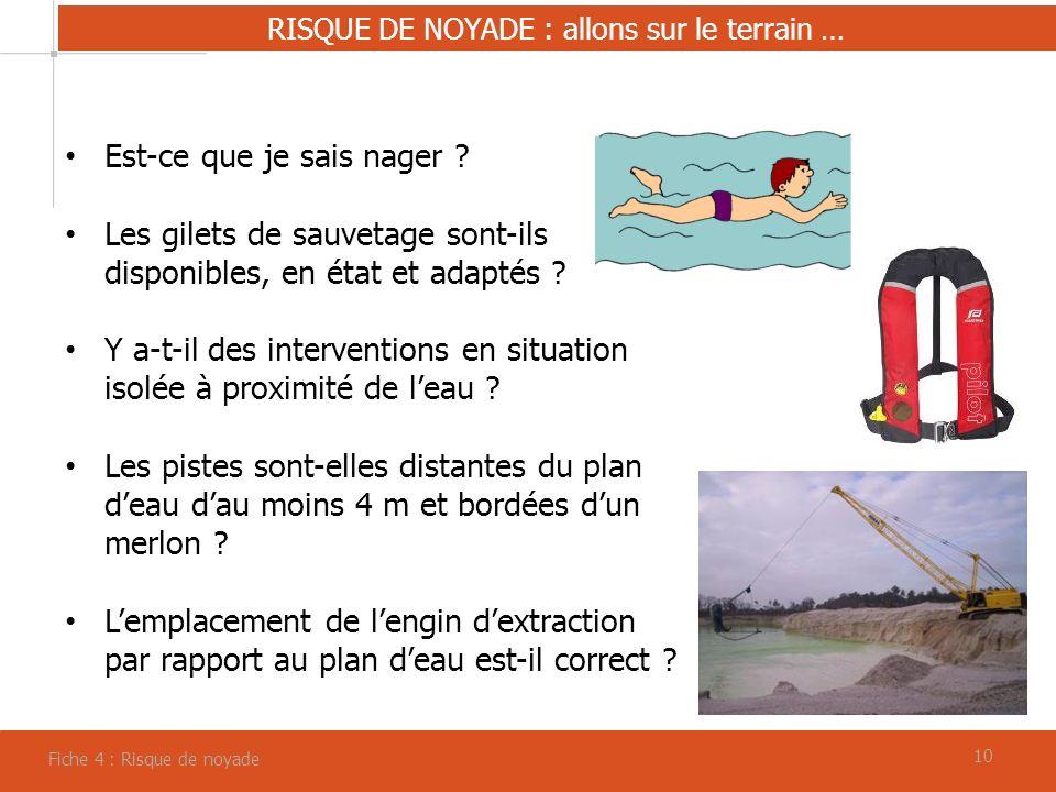 10 RISQUE DE NOYADE : allons sur le terrain … Fiche 4 : Risque de noyade Est-ce que je sais nager ? Les gilets de sauvetage sont-ils disponibles, en é