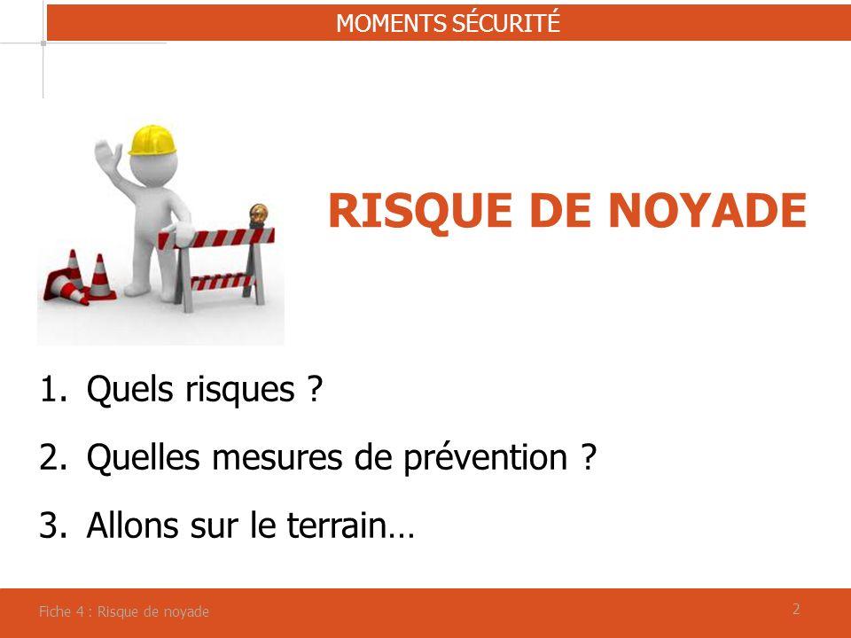 22 RISQUE DE NOYADE MOMENTS SÉCURITÉ Fiche 4 : Risque de noyade 1.Quels risques ? 2.Quelles mesures de prévention ? 3.Allons sur le terrain…