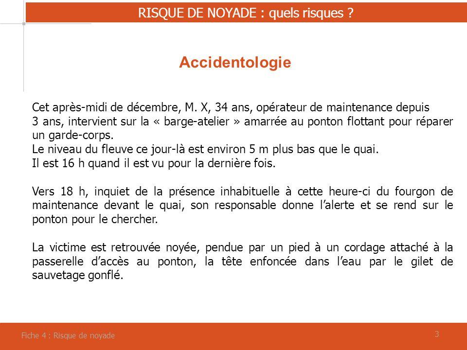 33 RISQUE DE NOYADE : quels risques ? Fiche 4 : Risque de noyade Accidentologie Cet après-midi de décembre, M. X, 34 ans, opérateur de maintenance dep