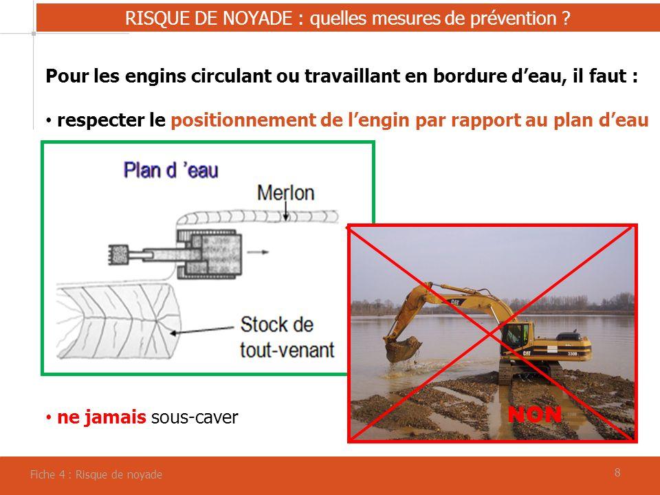 88 RISQUE DE NOYADE : quelles mesures de prévention ? Fiche 4 : Risque de noyade Pour les engins circulant ou travaillant en bordure deau, il faut : r