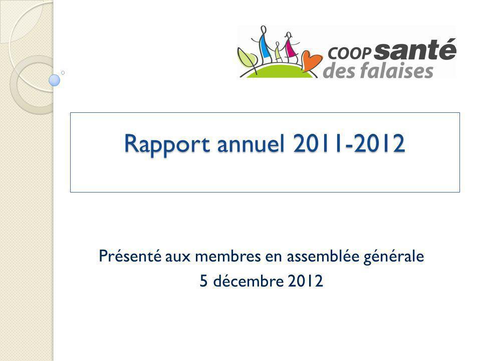 Rapport annuel 2011-2012 Présenté aux membres en assemblée générale 5 décembre 2012