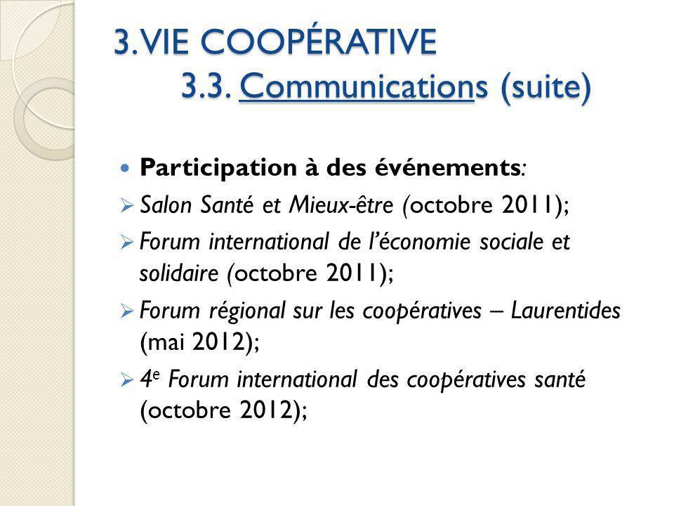 3. VIE COOPÉRATIVE 3.3. Communications (suite) Participation à des événements: Salon Santé et Mieux-être (octobre 2011); Forum international de lécono