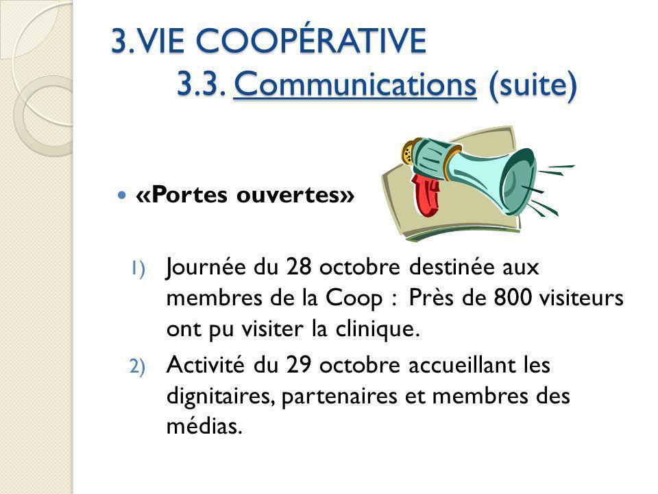3. VIE COOPÉRATIVE 3.3. Communications (suite) «Portes ouvertes» 1) Journée du 28 octobre destinée aux membres de la Coop : Près de 800 visiteurs ont