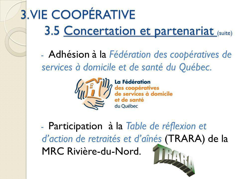3. VIE COOPÉRATIVE 3.5 Concertation et partenariat (suite) - Adhésion à la Fédération des coopératives de services à domicile et de santé du Québec. -