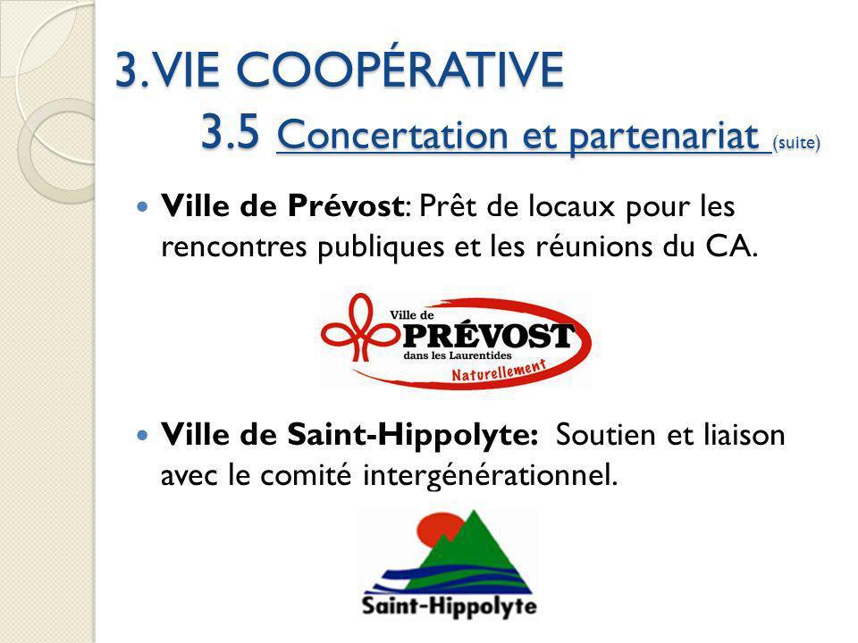 3. VIE COOPÉRATIVE 3.5 Concertation et partenariat (suite) Ville de Prévost: Prêt de locaux pour les rencontres publiques et les réunions du CA. Ville