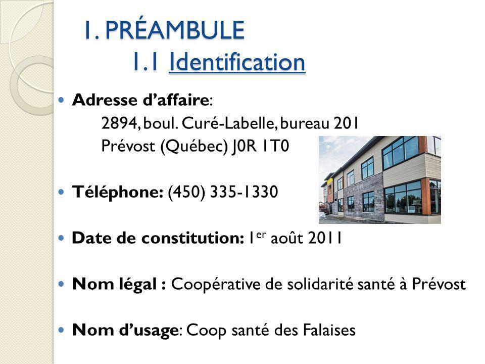 1. PRÉAMBULE 1.1 Identification Adresse daffaire: 2894, boul. Curé-Labelle, bureau 201 Prévost (Québec) J0R 1T0 Téléphone: (450) 335-1330 Date de cons