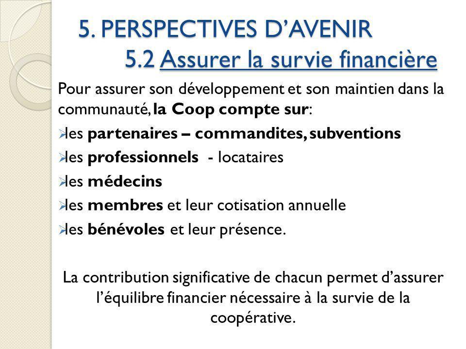 5. PERSPECTIVES DAVENIR 5.2 Assurer la survie financière Pour assurer son développement et son maintien dans la communauté, la Coop compte sur: les pa