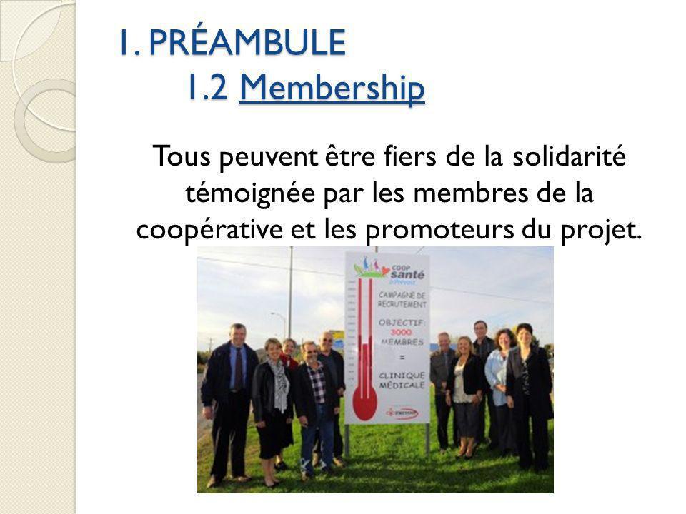 1. PRÉAMBULE 1.2 Membership Tous peuvent être fiers de la solidarité témoignée par les membres de la coopérative et les promoteurs du projet.