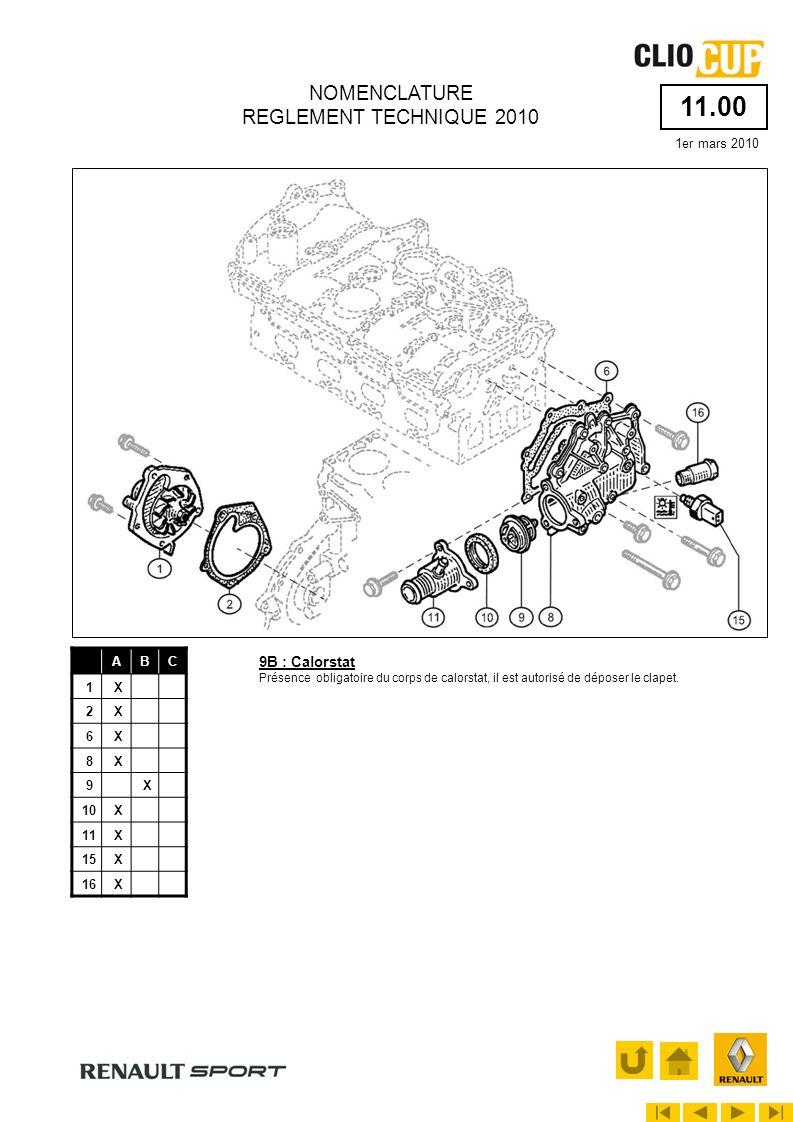 11.20 1er mars 2010 NOMENCLATURE REGLEMENT TECHNIQUE 2010 ABC 5X 17X 18X 19X Voir article 5.5 5B : Plaque dobturation des bouchons darbres à cames Ces plaques sont scellées.