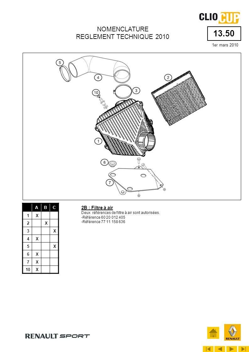 13.50 1er mars 2010 NOMENCLATURE REGLEMENT TECHNIQUE 2010 ABC 1X 2X 3X 4X 5X 6X 7X 10X 2B : Filtre à air Deux références de filtre à air sont autorisé