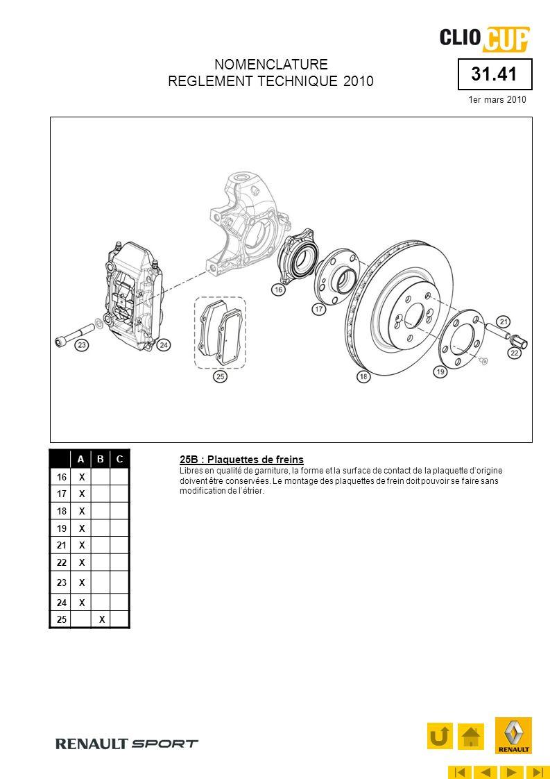 31.41 1er mars 2010 NOMENCLATURE REGLEMENT TECHNIQUE 2010 ABC 16X 17X 18X 19X 21X 22X 23X 24X 25X 25B : Plaquettes de freins Libres en qualité de garn