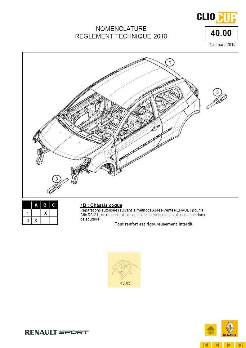 40.00 1er mars 2010 NOMENCLATURE REGLEMENT TECHNIQUE 2010 ABC 1X 3X 40.05 1B : Châssis coque Réparations autorisées suivant la méthode Après-Vente REN