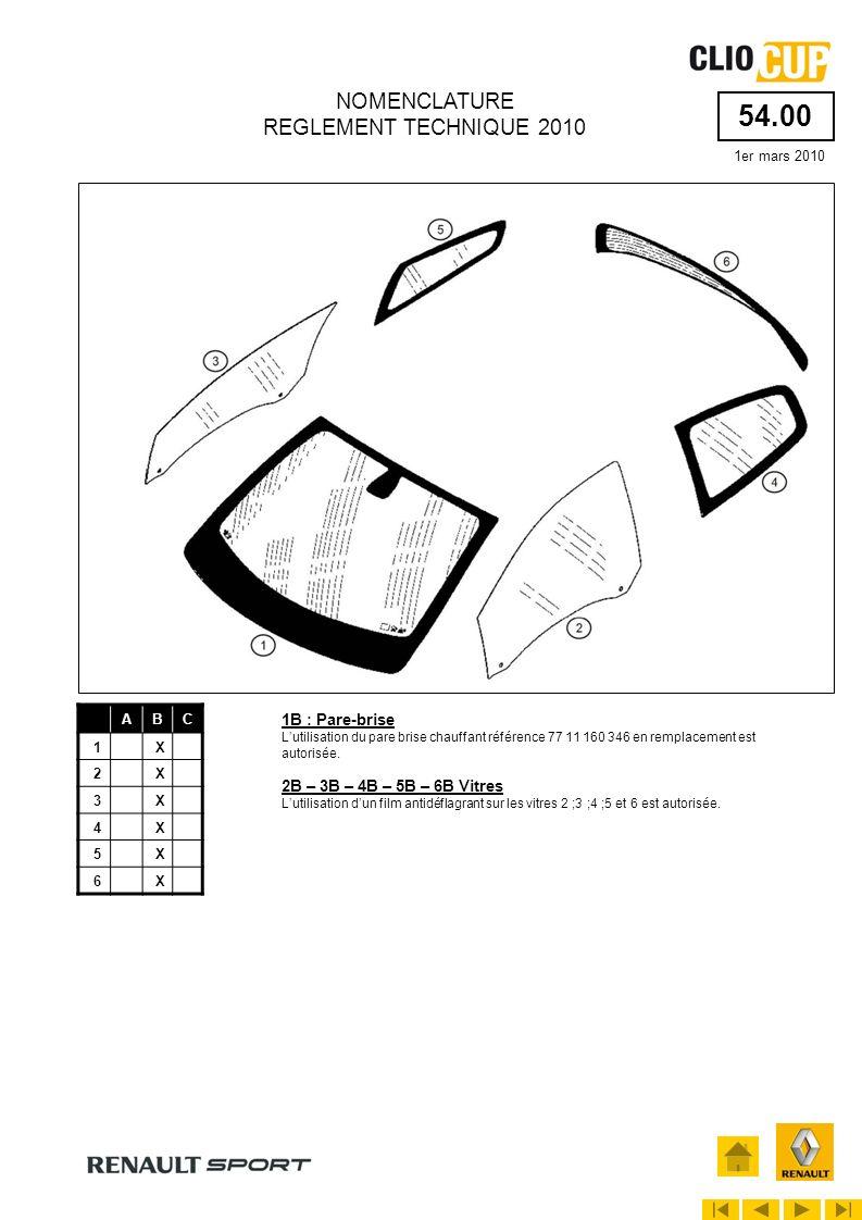 55.01 1er mars 2010 NOMENCLATURE REGLEMENT TECHNIQUE 2010 ABC 1X 2X 3X 4X 5X 6X 7X 8X 9X 10X 11X 17X 5B – 6B – 8B : Éléments de grille de calandre Ces éléments doivent rester dans leur aspect dorigine, il est interdit de les peindre ou de poser un revêtement adhésif.