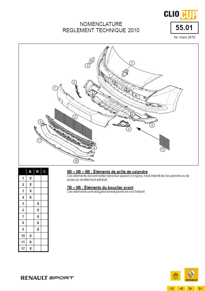 55.06 1er mars 2010 NOMENCLATURE REGLEMENT TECHNIQUE 2010 ABC 1X 2X 3X 4X 5X 6X 7X 9X 10X 13X 15X 16X 3B : Extracteur arrière Cet élément doit rester dans leur aspect dorigine, il est interdit de le peindre ou de poser un revêtement adhésif.