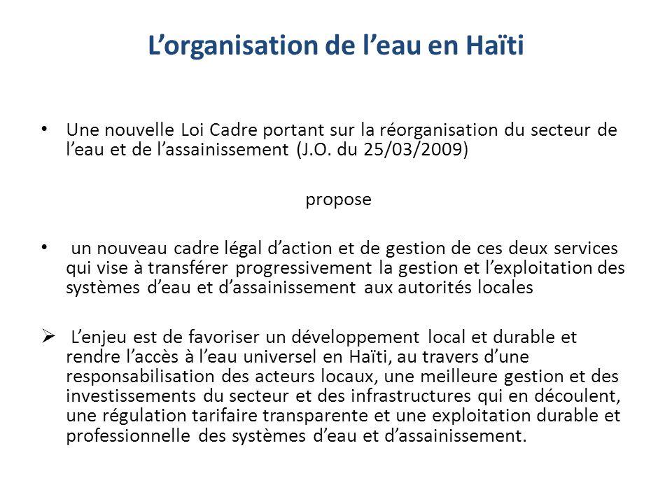 Lorganisation de leau en Haïti Une nouvelle Loi Cadre portant sur la réorganisation du secteur de leau et de lassainissement (J.O. du 25/03/2009) prop
