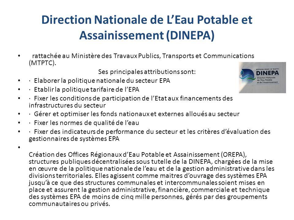 Direction Nationale de LEau Potable et Assainissement (DINEPA) rattachée au Ministère des Travaux Publics, Transports et Communications (MTPTC).
