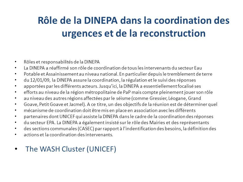 Rôle de la DINEPA dans la coordination des urgences et de la reconstruction Rôles et responsabilités de la DINEPA La DINEPA a réaffirmé son rôle de coordination de tous les intervenants du secteur Eau Potable et Assainissement au niveau national.