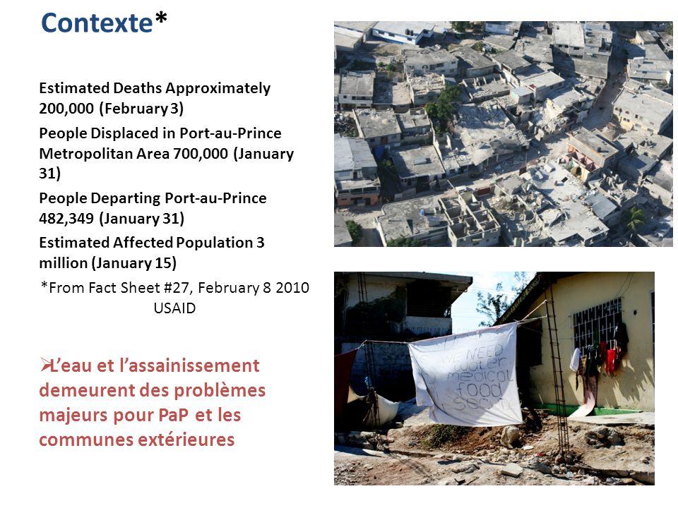 Contexte* Estimated Deaths Approximately 200,000 (February 3) People Displaced in Port-au-Prince Metropolitan Area 700,000 (January 31) People Departing Port-au-Prince 482,349 (January 31) Estimated Affected Population 3 million (January 15) *From Fact Sheet #27, February 8 2010 USAID Leau et lassainissement demeurent des problèmes majeurs pour PaP et les communes extérieures