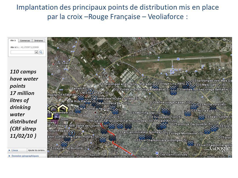 Implantation des principaux points de distribution mis en place par la croix –Rouge Française – Veoliaforce : 110 camps have water points 17 million l