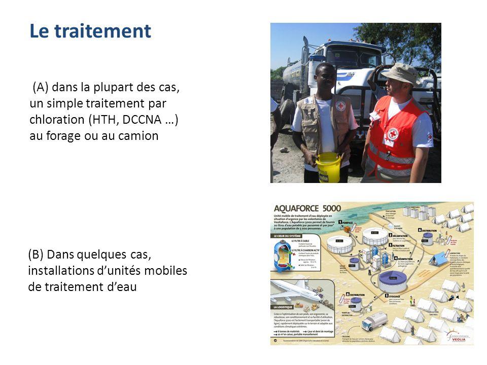 Le traitement (A) dans la plupart des cas, un simple traitement par chloration (HTH, DCCNA …) au forage ou au camion (B) Dans quelques cas, installati