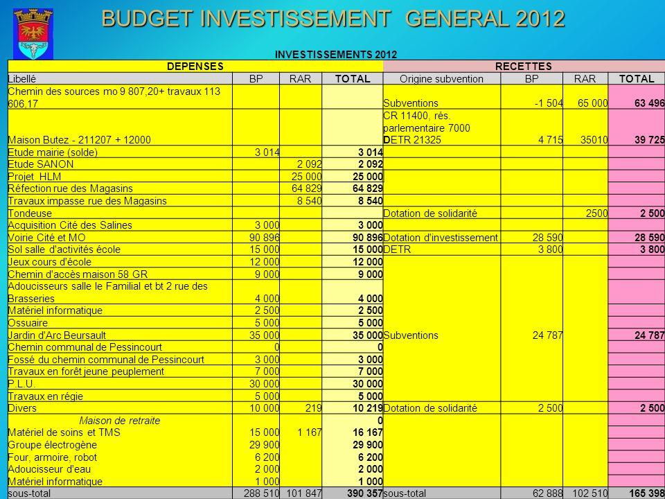 INVESTISSEMENTS 2012 DEPENSESRECETTES LibelléBPRARTOTALOrigine subventionBPRARTOTAL Chemin des sources mo 9 807,20+ travaux 113 606,17 Subventions-1 5