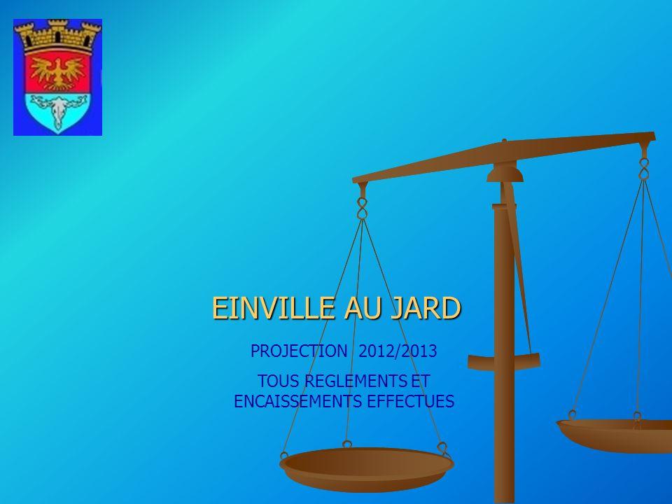 EINVILLE AU JARD PROJECTION 2012/2013 TOUS REGLEMENTS ET ENCAISSEMENTS EFFECTUES