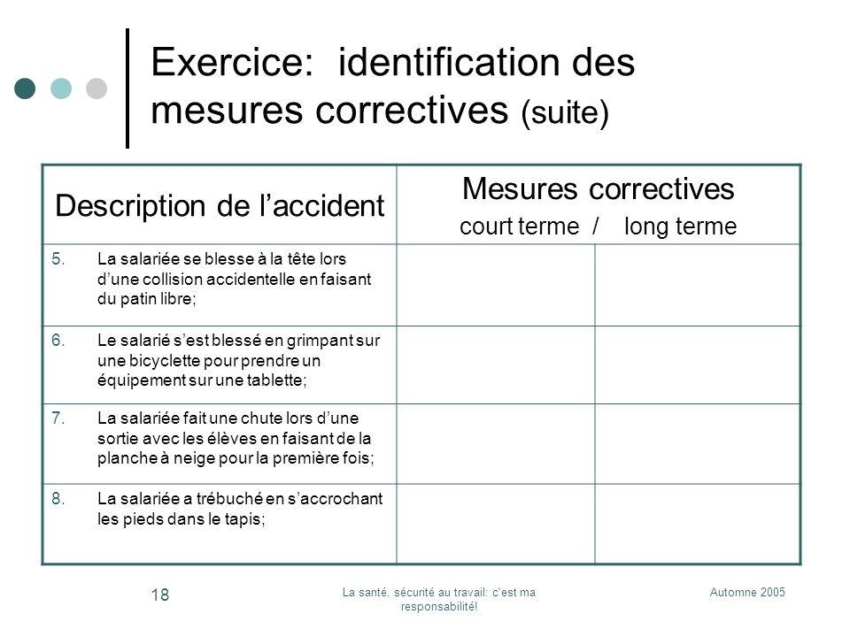 Automne 2005La santé, sécurité au travail: c'est ma responsabilité! 18 Exercice: identification des mesures correctives (suite) Description de laccide