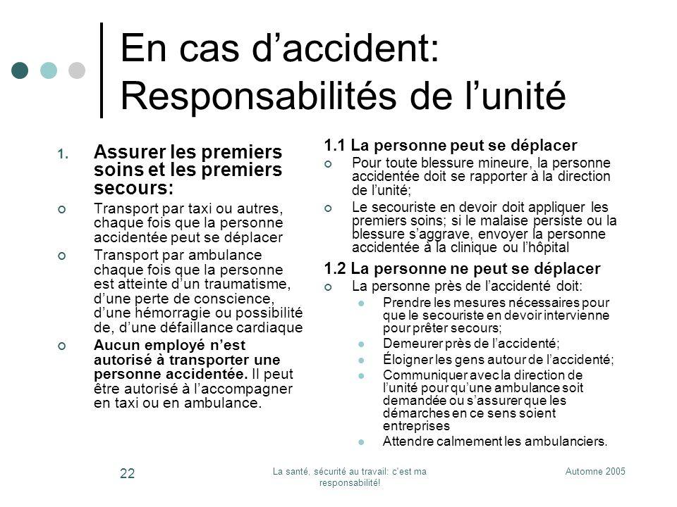 Automne 2005La santé, sécurité au travail: c'est ma responsabilité! 22 En cas daccident: Responsabilités de lunité 1. Assurer les premiers soins et le