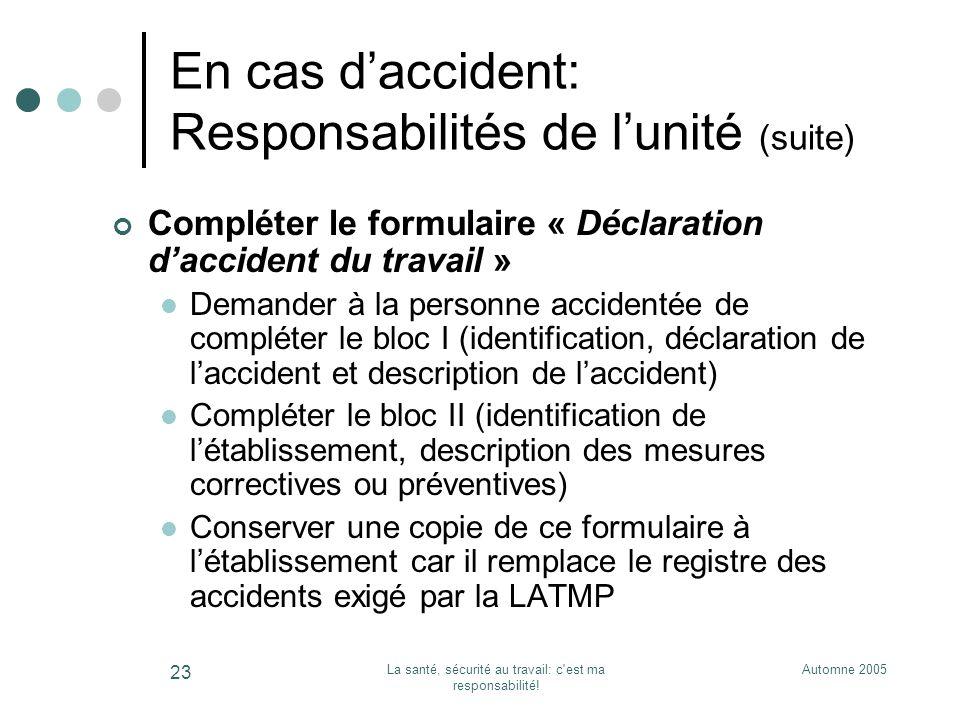 Automne 2005La santé, sécurité au travail: c'est ma responsabilité! 23 En cas daccident: Responsabilités de lunité (suite) Compléter le formulaire « D