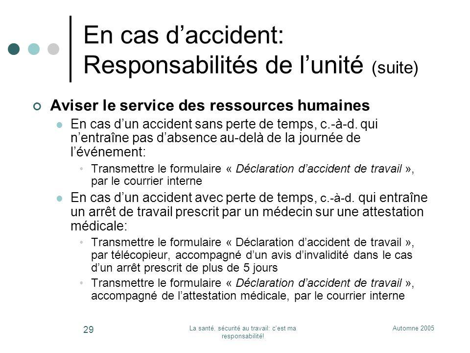 Automne 2005La santé, sécurité au travail: c'est ma responsabilité! 29 En cas daccident: Responsabilités de lunité (suite) Aviser le service des resso