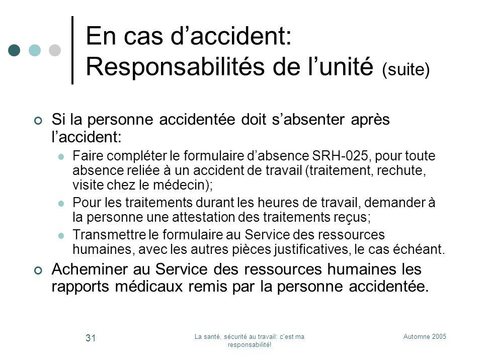 Automne 2005La santé, sécurité au travail: c'est ma responsabilité! 31 En cas daccident: Responsabilités de lunité (suite) Si la personne accidentée d