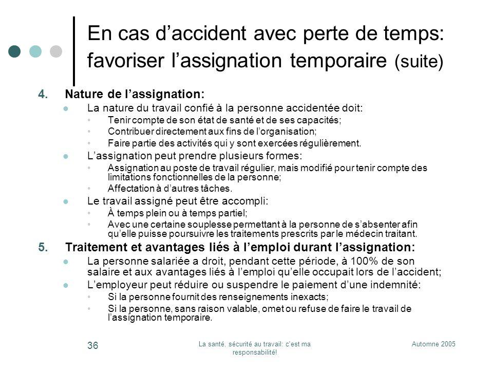 Automne 2005La santé, sécurité au travail: c'est ma responsabilité! 36 En cas daccident avec perte de temps: favoriser lassignation temporaire (suite)