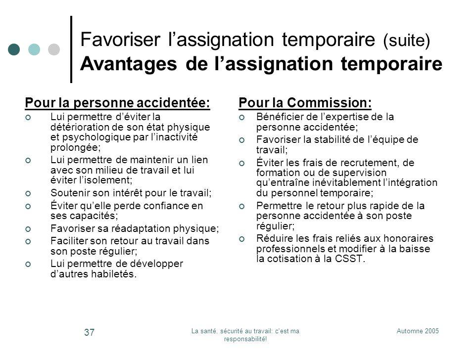 Automne 2005La santé, sécurité au travail: c'est ma responsabilité! 37 Favoriser lassignation temporaire (suite) Avantages de lassignation temporaire