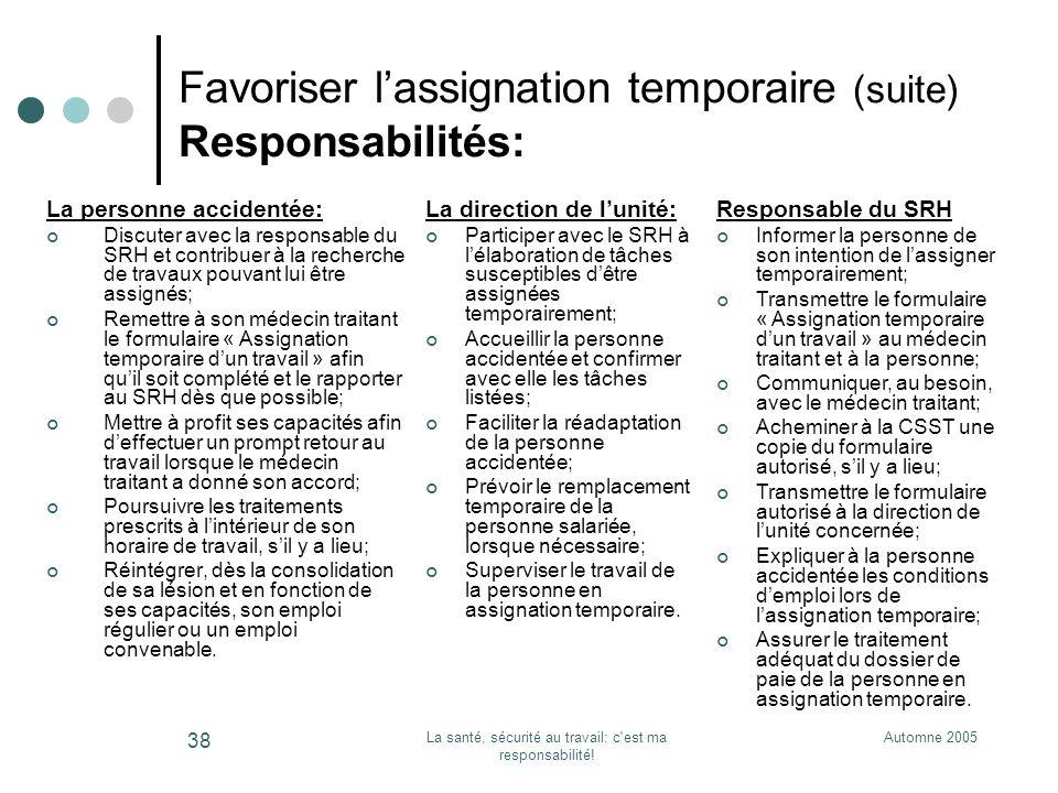Automne 2005La santé, sécurité au travail: c'est ma responsabilité! 38 Favoriser lassignation temporaire (suite) Responsabilités: La personne accident