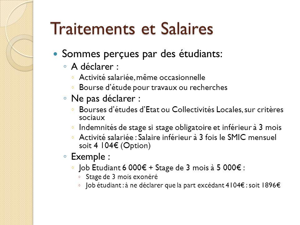 Traitements et Salaires Sommes perçues par des étudiants: A déclarer : Activité salariée, même occasionnelle Bourse détude pour travaux ou recherches