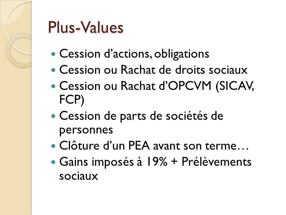 Plus-Values Cession dactions, obligations Cession ou Rachat de droits sociaux Cession ou Rachat dOPCVM (SICAV, FCP) Cession de parts de sociétés de pe