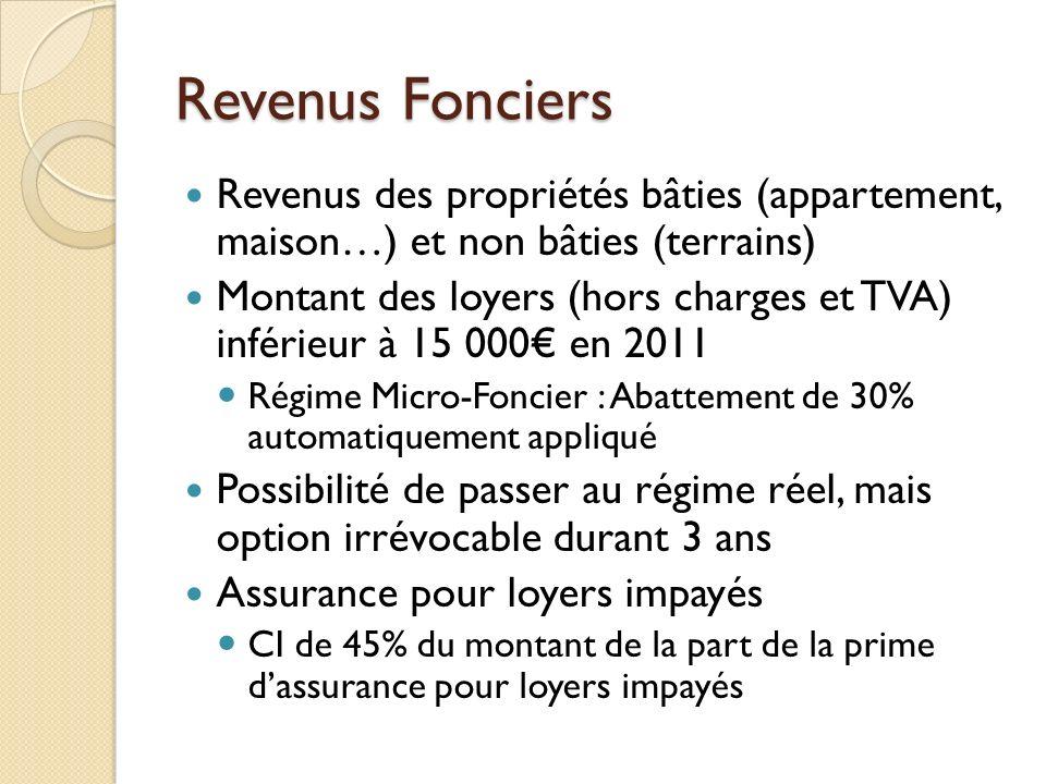 Revenus Fonciers Revenus des propriétés bâties (appartement, maison…) et non bâties (terrains) Montant des loyers (hors charges et TVA) inférieur à 15