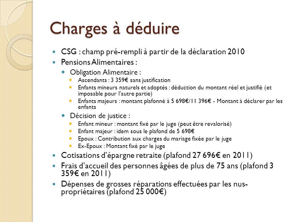 Charges à déduire CSG : champ pré-rempli à partir de la déclaration 2010 Pensions Alimentaires : Obligation Alimentaire : Ascendants : 3 359 sans just