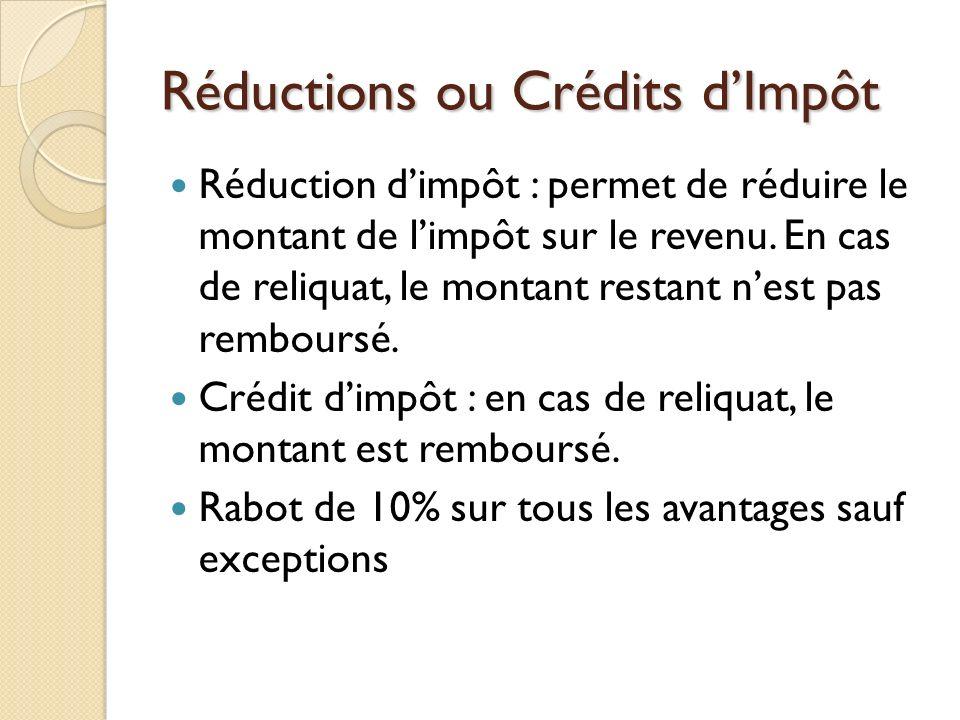Réductions ou Crédits dImpôt Réduction dimpôt : permet de réduire le montant de limpôt sur le revenu. En cas de reliquat, le montant restant nest pas