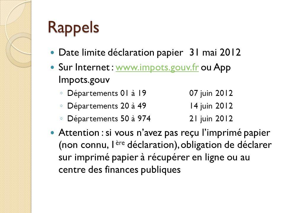 Rappels Date limite déclaration papier 31 mai 2012 Sur Internet : www.impots.gouv.fr ou App Impots.gouvwww.impots.gouv.fr Départements 01 à 1907 juin