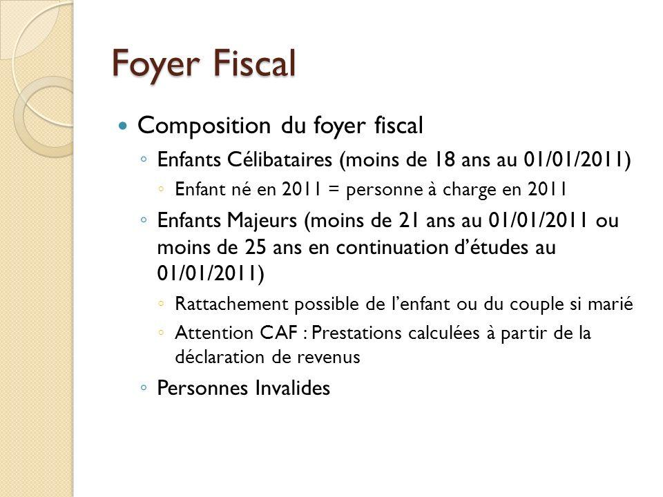 Foyer Fiscal Composition du foyer fiscal Enfants Célibataires (moins de 18 ans au 01/01/2011) Enfant né en 2011 = personne à charge en 2011 Enfants Ma