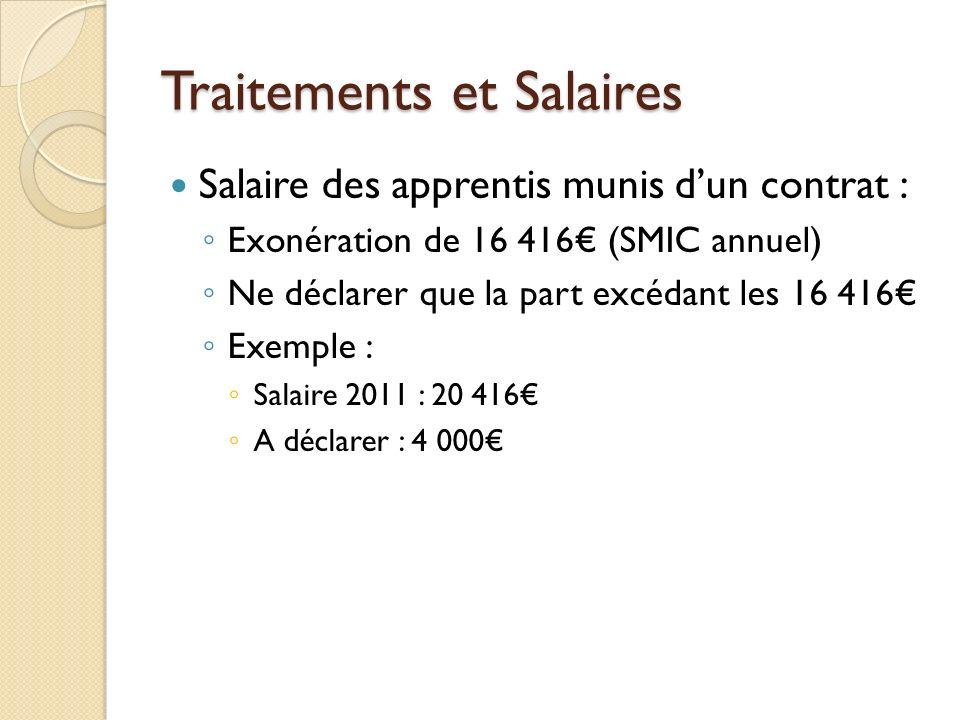 Traitements et Salaires Salaire des apprentis munis dun contrat : Exonération de 16 416 (SMIC annuel) Ne déclarer que la part excédant les 16 416 Exem